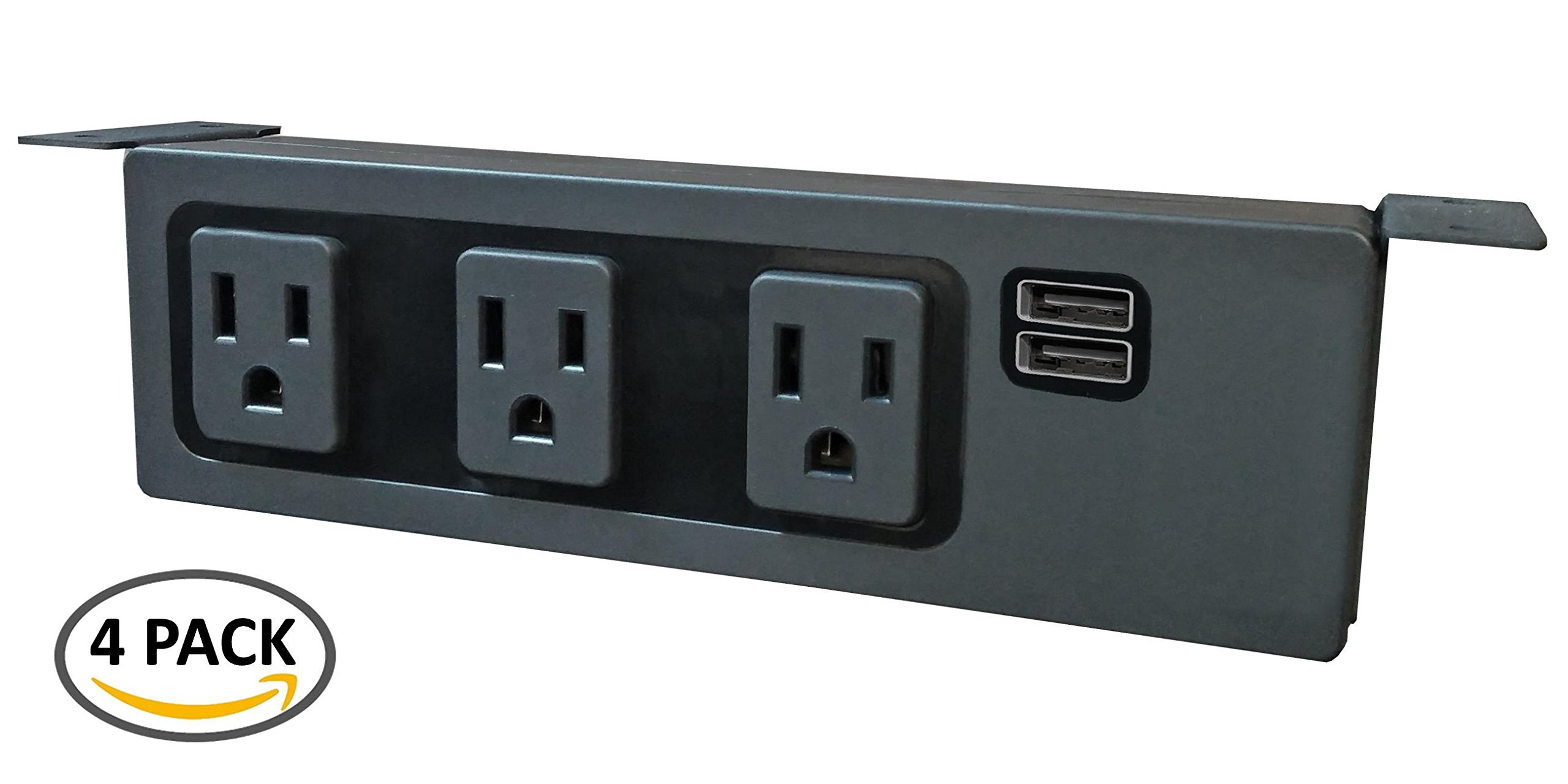 Under The Desk/Table Power Center - 3 Outlets & 2 USB 3.1 Amp Ports (Pack of 4) (Black)