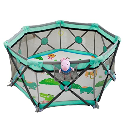 Baby Playpen Baby Playpens Baby Safety Bars Boys and Girls Safety Activity Center Childrens Play House Indoor Crawling Toddler Bar Folding Color : Green, Size : 68.6 * 120.7cm Activity & Entertainment