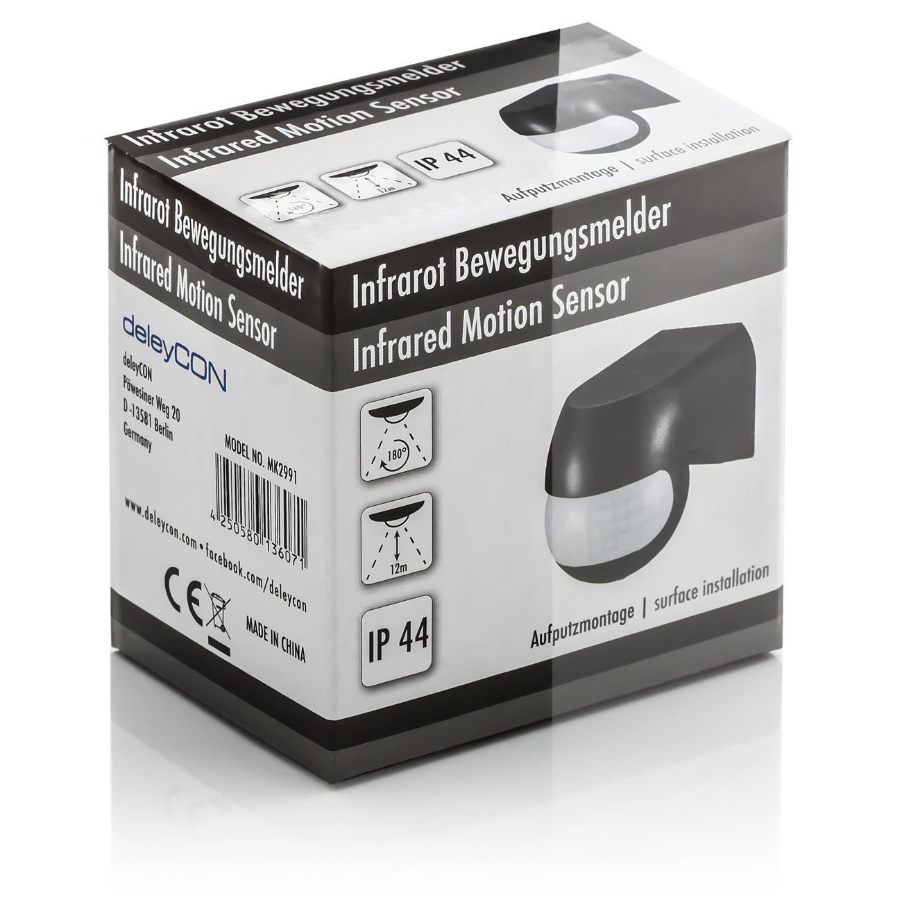 Negro Alcance de hasta 12m a 180/° Giratorio Inclinable IP44 a Prueba de Salpicaduras deleyCON 1x Infrarrojos Detector de Movimiento para el Interior y el Exterior