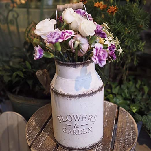 Amazon Com Soyizom Farmhouse Decorative Vases French Country Vintage Vase White Shabby Chic Metal Rustic Flower Vases Milk Can Jug Planter With Handles For Wedding Garden Home Office Cafe Decor Home Kitchen