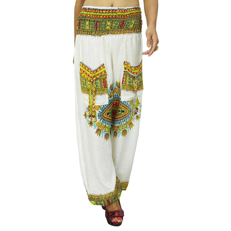Elastische Taillen-Hosen-weiße Blumen Bohemian Hosen-Yoga-Hose ViscoseHarem Hosen