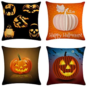 XIECCX Throw Pillow Covers Decorative Pillowcases Christmas Halloween Thanksgiving Theme 4 Pack - Soft Linen Cotton Design Cushion Cover for Sofa,Bedroom,Chair,Car Seat,Farmhouse 18 x 18