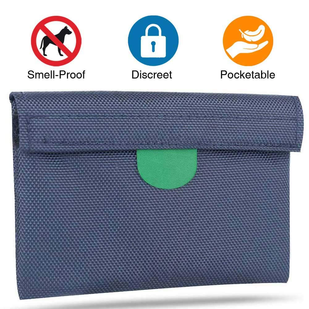 MEIZHI Smell Proof Bag, Discreet Portable Plant Germination Stash Bag for Herbs Spices Tea, Activated Carbon Lining, Odor Absorbing, Water Resistant Pocket, 6 x4.5 Inch Navy Blue