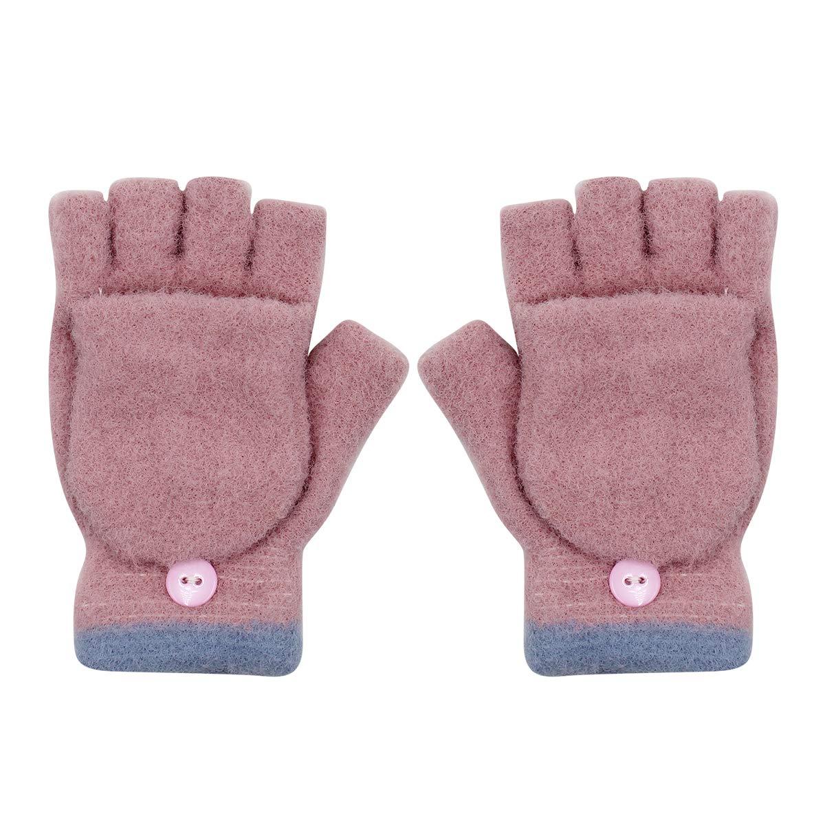 Unisex Kids Gloves Baby Girls Boys Soft Warm Convertible Flip Top Winter Gloves with Mitten Cover