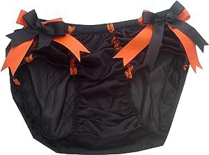 HDHW85 BLACK Halloween Handmade Bow Underwear Nylon Women Ladies briefs Lace L-3XL (3XL)