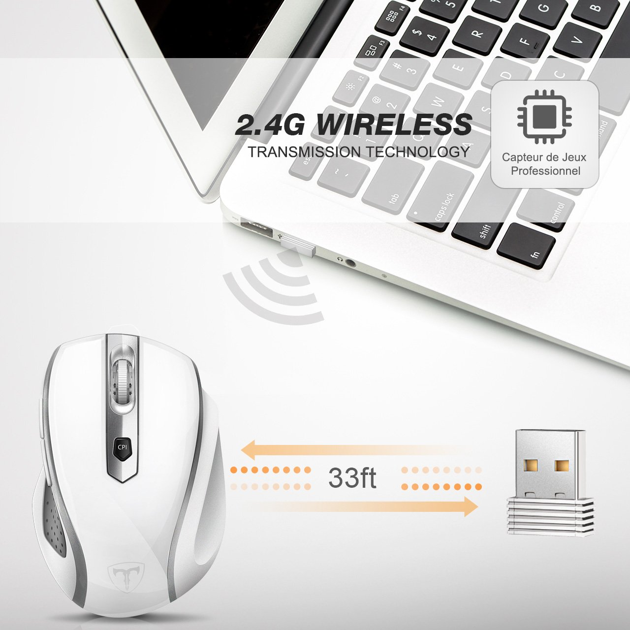 VicTsing MM057 2.4G Wireless Portable Mobile Mouse Optical Mice with USB Receiver, 5 Adjustable DPI Levels, 6 Buttons for Notebook, PC, Laptop, Computer, Macbook - White by VicTsing (Image #3)