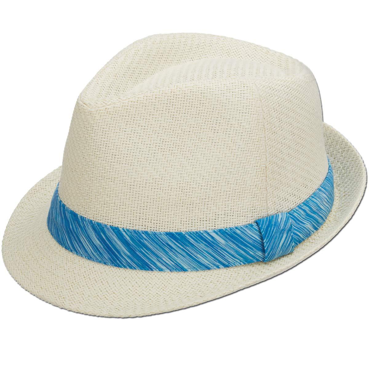 Panama Jack Women's Fedora Hat - Lightweight Matte Toyo Straw, 1 3/4'' Structured Brim, Knit Ribbon Hat Band (Turquoise)
