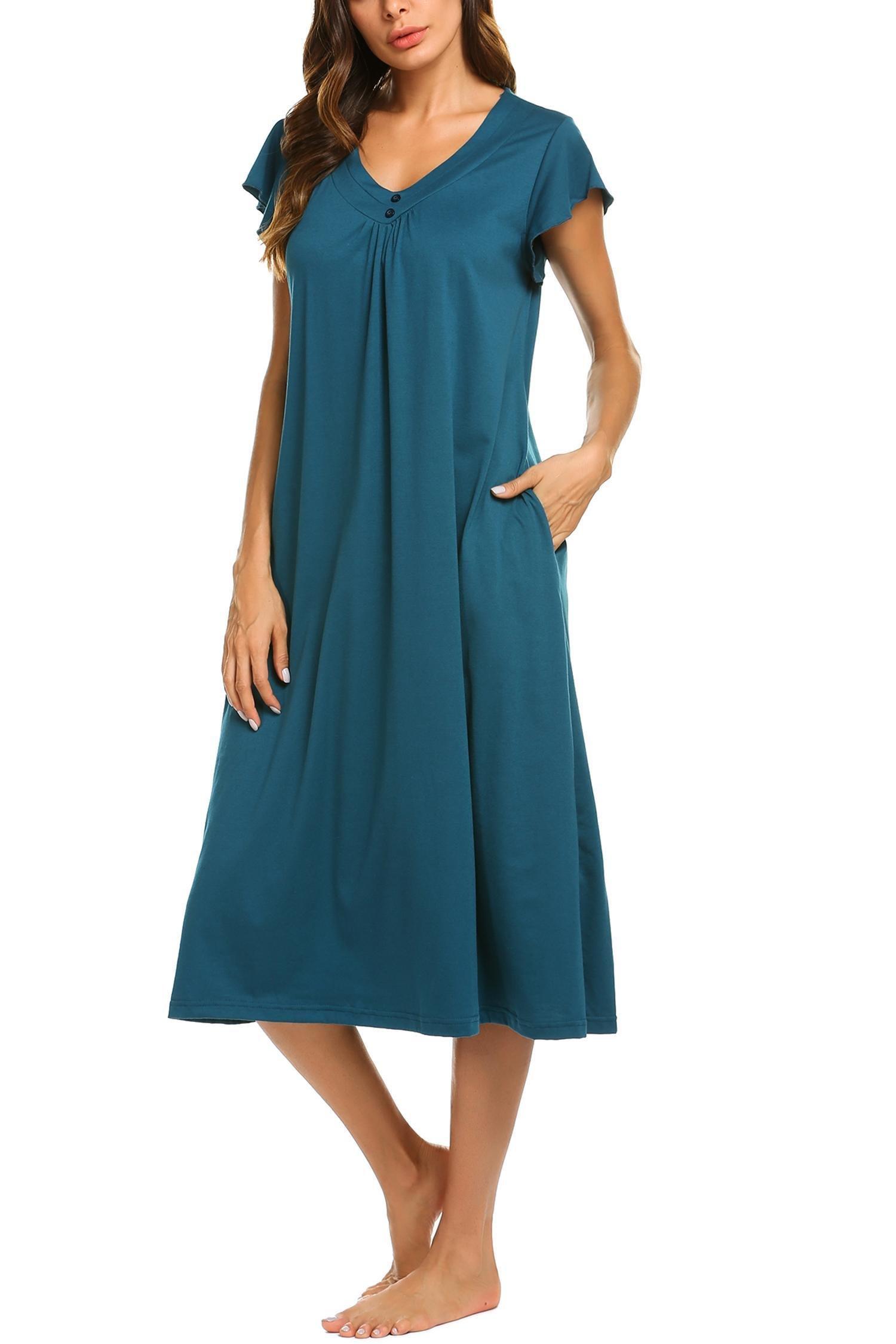 Goldenfox Oversize Cool Nightgown for Ladies Loose Summer Nightwear Pajama Dress (Green, XX-Large)