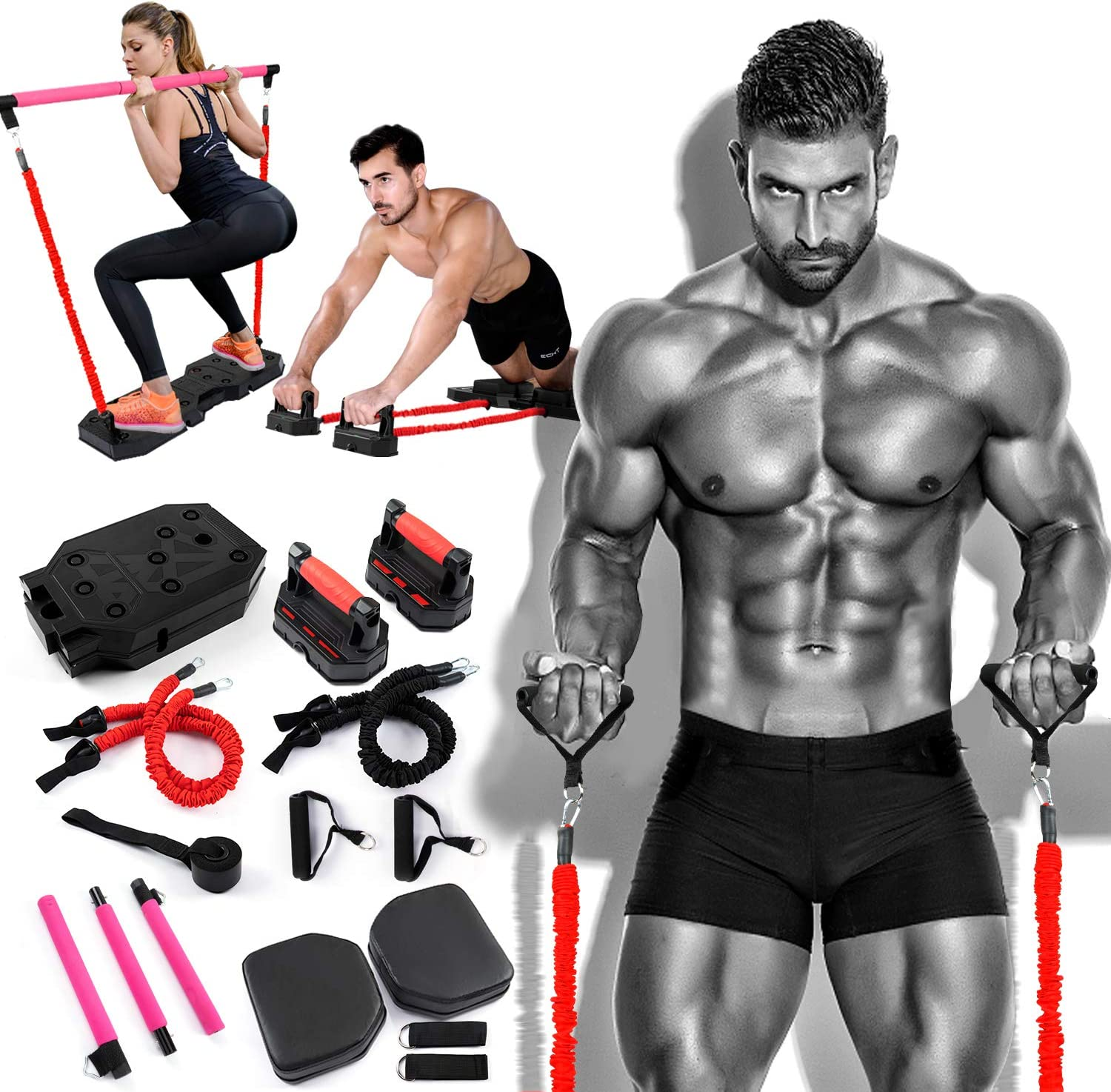 Portable Home Gym Workout Equipment with 8 Exercise Accessories,Pilates,Ab Roller Wheels 90 lbs Heavy Resistance Bands Push-up Stand,and More for Full Body Fitness System to Build Muscle and Burn Fat