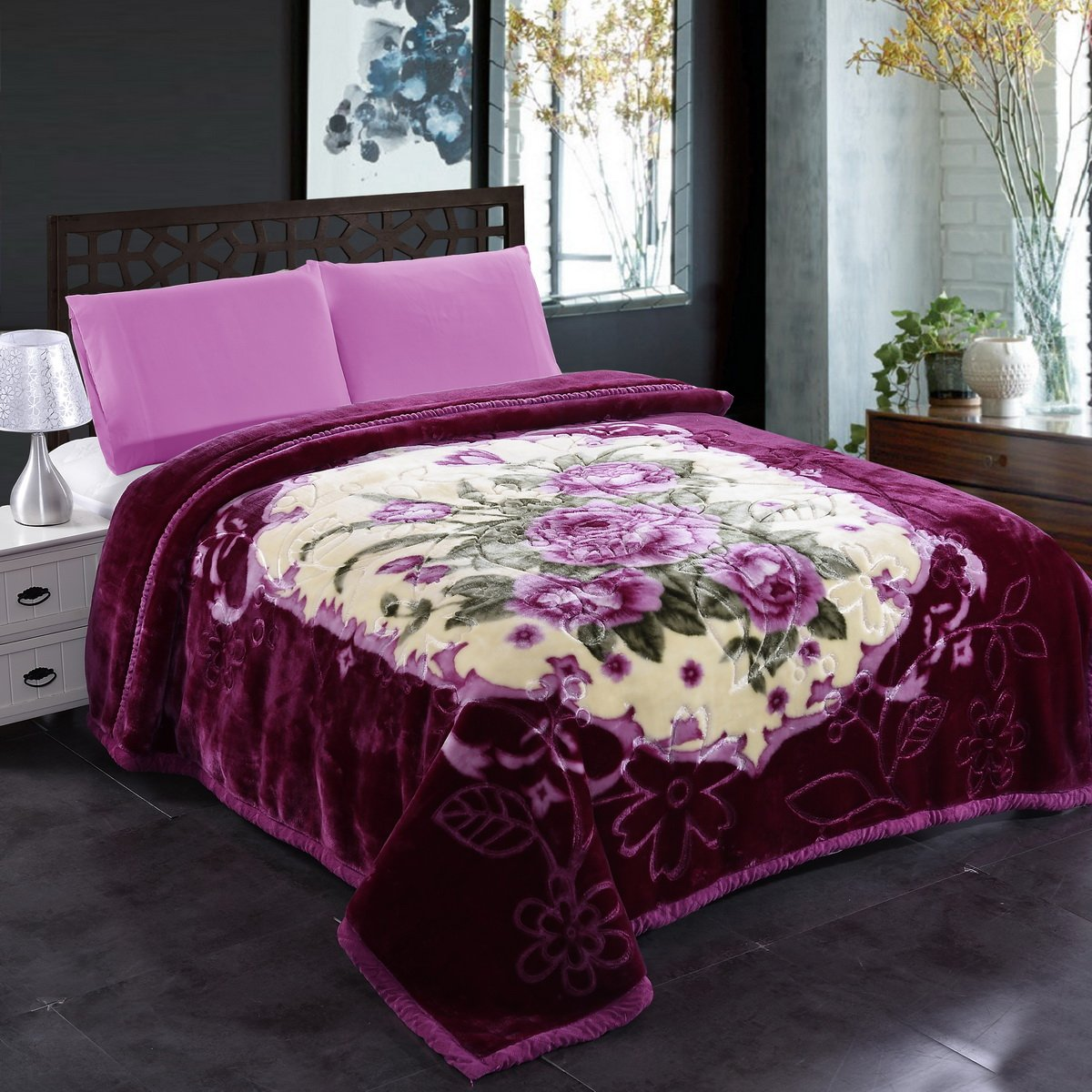 JML Plush Blankets King Size 85'' x 93'', Heavy Blankets(10 Pounds) with 2 Ply Printed - Soft Warm, Korean Style Mink Raschel Fleece Blanket, Purple Floral