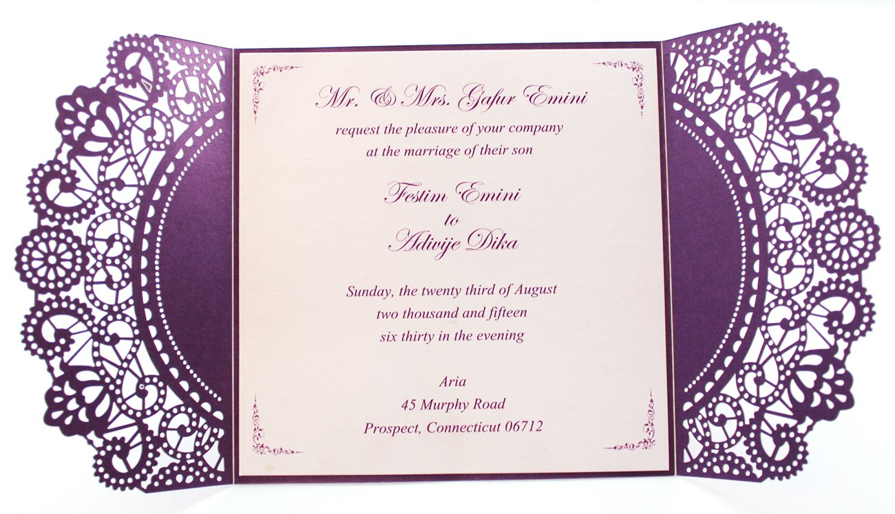 Purple Wedding Invitation Cards with White Ribbon Bow (50)