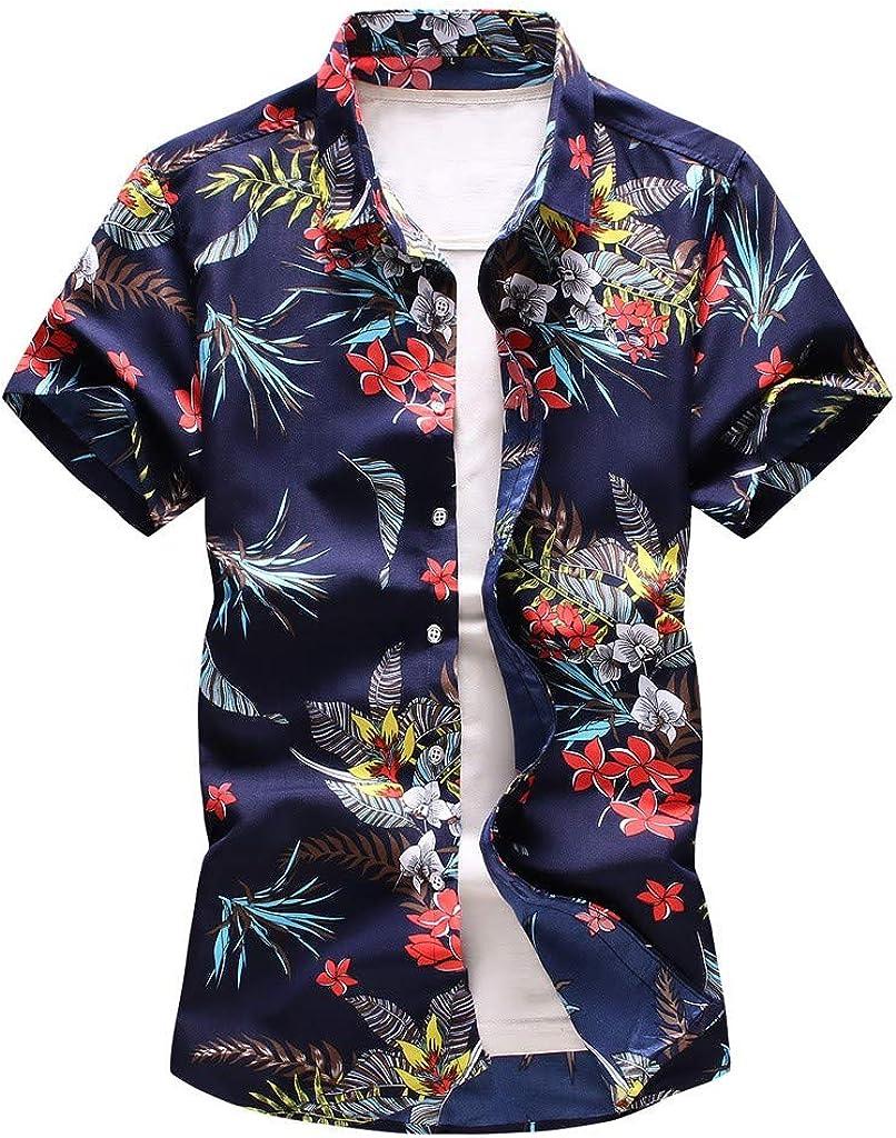 Anewoneson 2019//Mens Hawaiian Flower Shirt Aloha Print Short Sleeve Big Sales