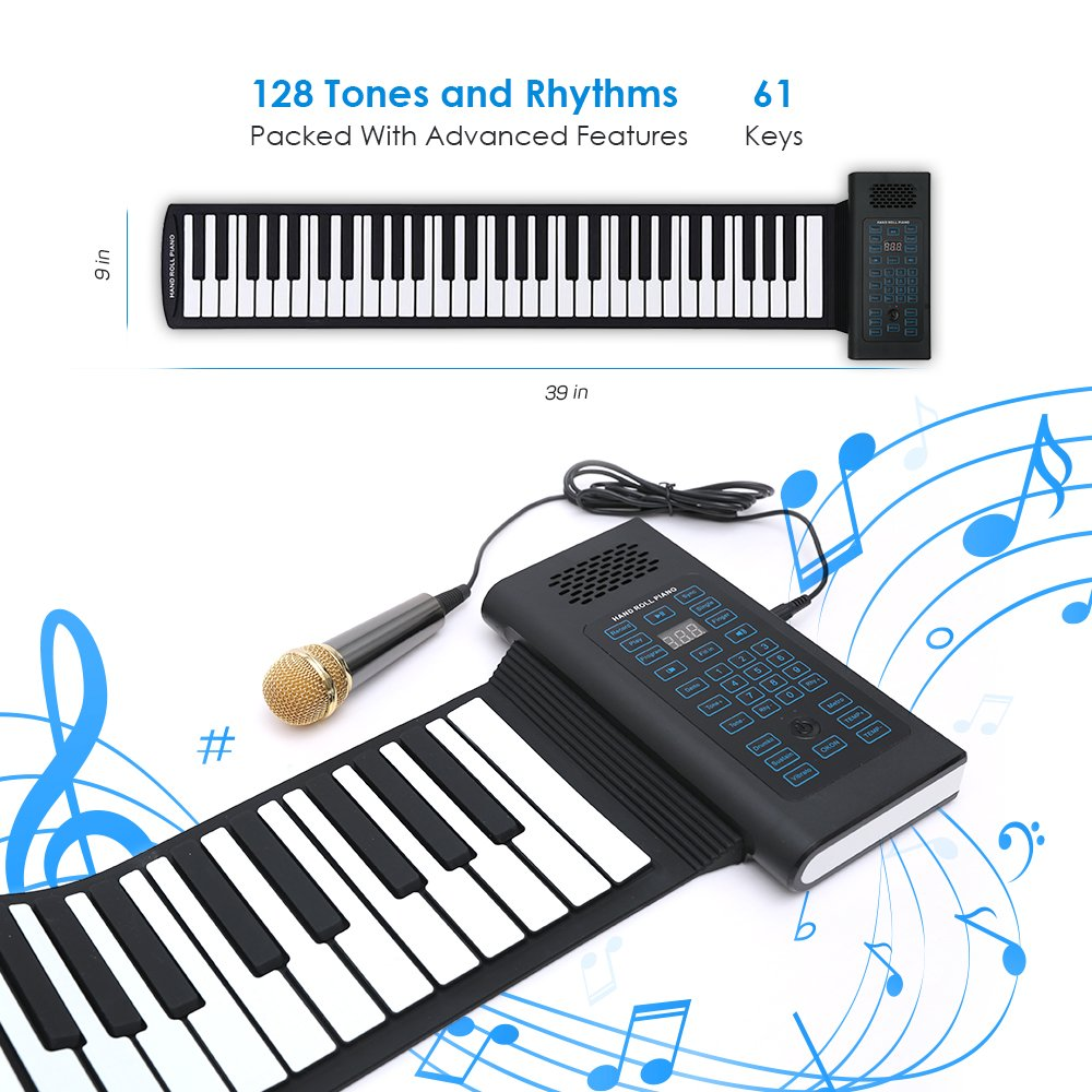 Roll Up Piano Folding Portable Keyboard | 61Keys | Music Gifts for Women Men Girl Boys Kids | Educational Toys Gift Set | Digital Beginner Piano Igloo Essentials