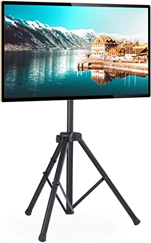 Portable TV Tripod Stand for 32-60 inch LCD LED Flat Screen TVs Monitors up to 100lbs, Black Floor Tripod Display Stand with Height Adjustable and Swivel Mount, Max VESA 600x400mm