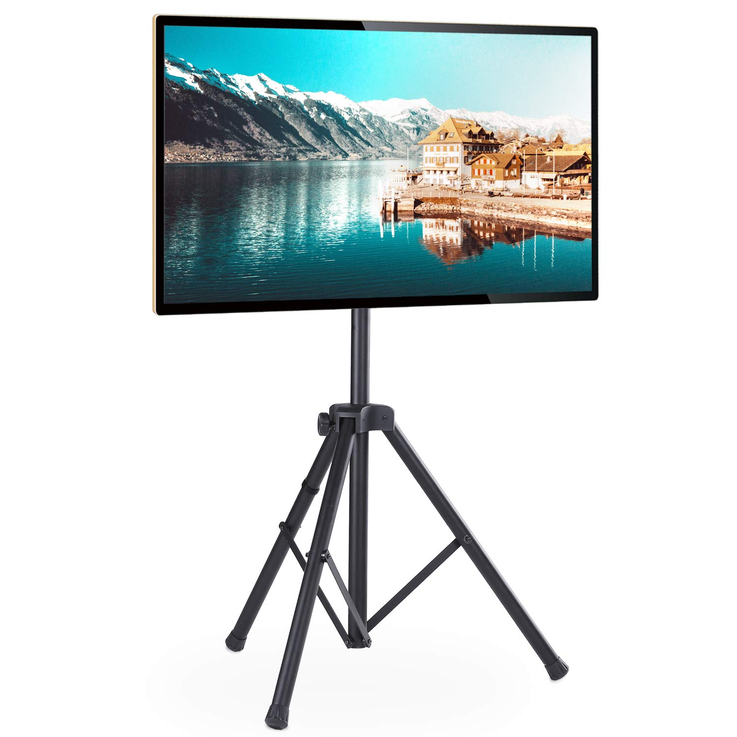 Rfiver Portable Tripod TV Display Floor Stand with Swivel & Tilt Mount for 32''-60'' Plasma LCD, LED, OLED Flat/Curved Screen TVs, Height Adjustable and Legs Foldable, Max VESA 400x400mm, Black DS1001 by Rfiver
