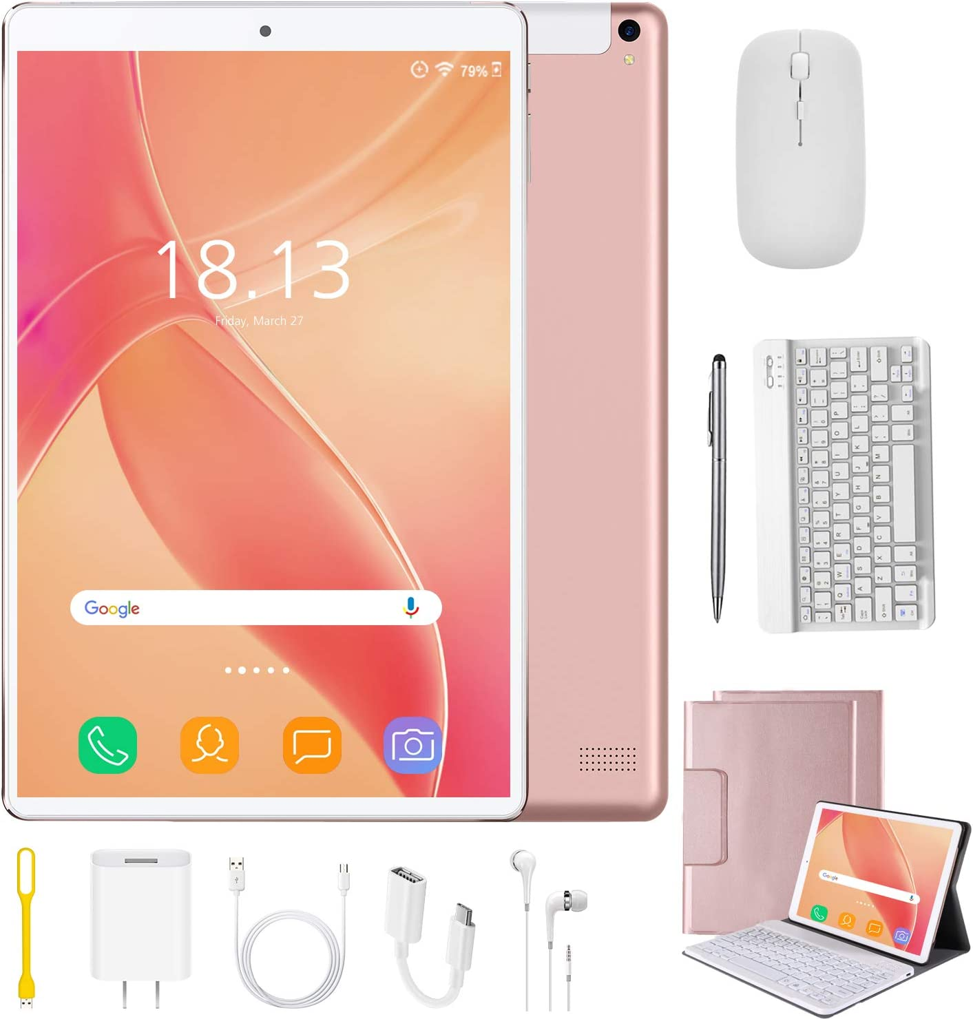 2 in 1 Tablets 10 Inch Android 9.0 with Keyboard Mouse, 4GB RAM+64GB ROM/128GB Upgrade Tablets, Dual SIM 4G, Quad Core, 13MP Dual Camera, 8000mAh, WiFi, GPS, Bluetooth, Google Store Phones (Pink)