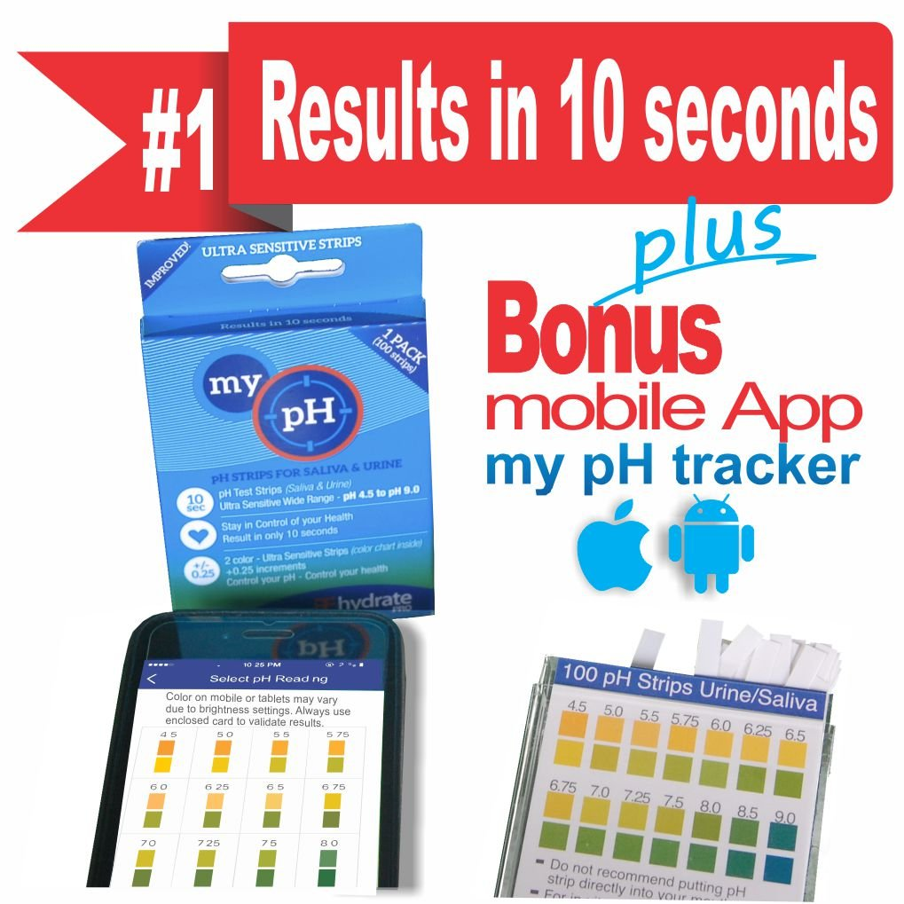 Rehydrate Pro 200 strip Urine Saliva pH Test Strips To Monitor Alkalinity Acidity and Health. Results in 10 Seconds. Indicates pH scale 4.5-9.0. FREE App to Help Educate, Record and Monitor