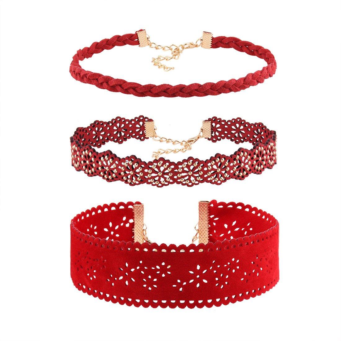 Bystar Choker 3PCS Fashion Red Choker Necklace Rhinestone Hollow Set for Womens N201740101