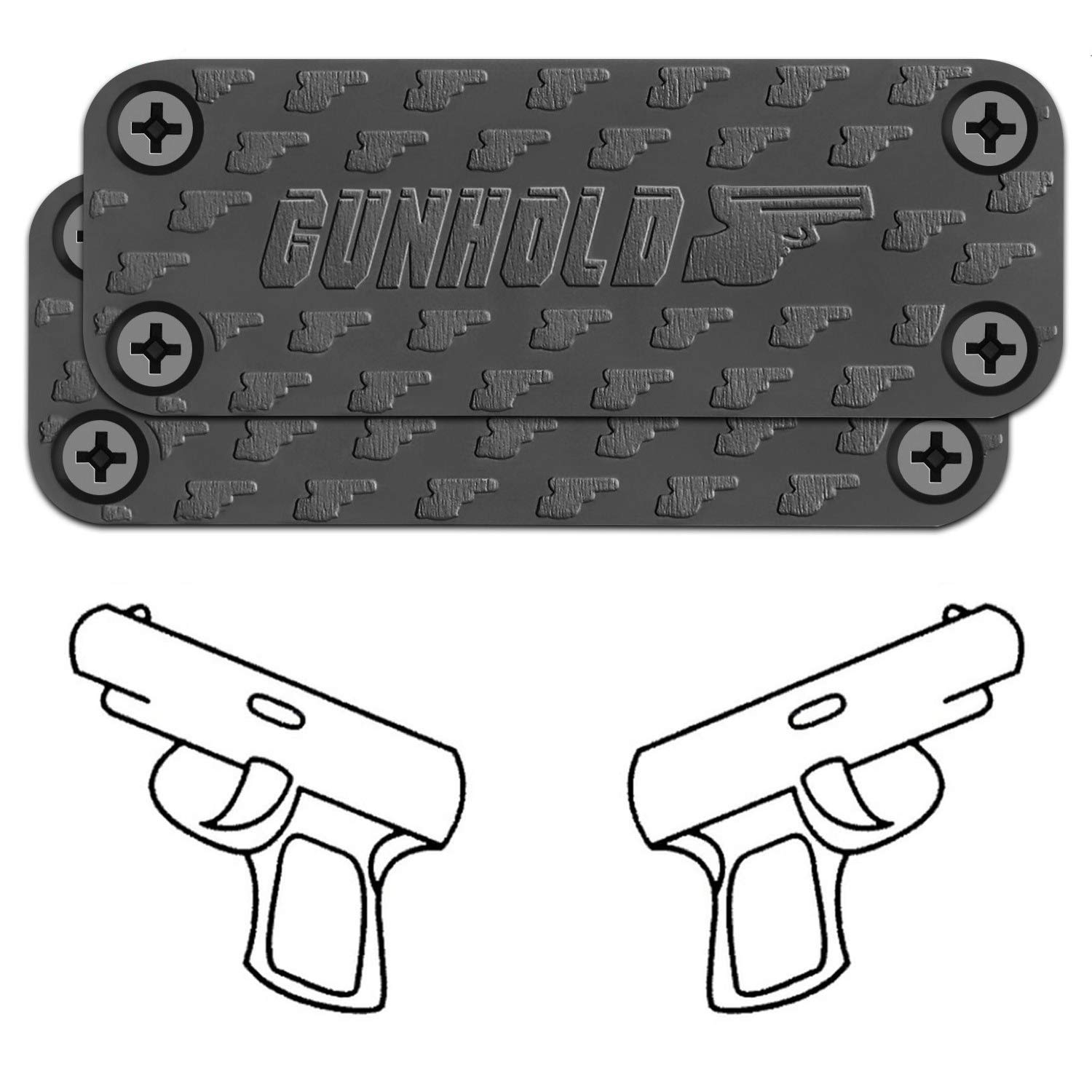 GUNHOLD Gun Magnet - Magnetic Gun Mount & Car Holster - HQ Rubber Coated 43 lbs Firearm Accessories. Install in Your car, Truck, Wall, Vault, Bedside, Doorway, Desk, Safe