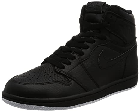 Jordan Nike Men's Air 1 Retro High OG Black Leather Basketball Shoes 10