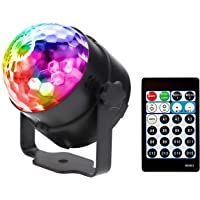 Sound Activated Disco Ball Party Light WINSAFE with Remote,dance lights,Portable Strobe Lamp 15 Modes Stage Par Light for Home Room Dance Parties Birt