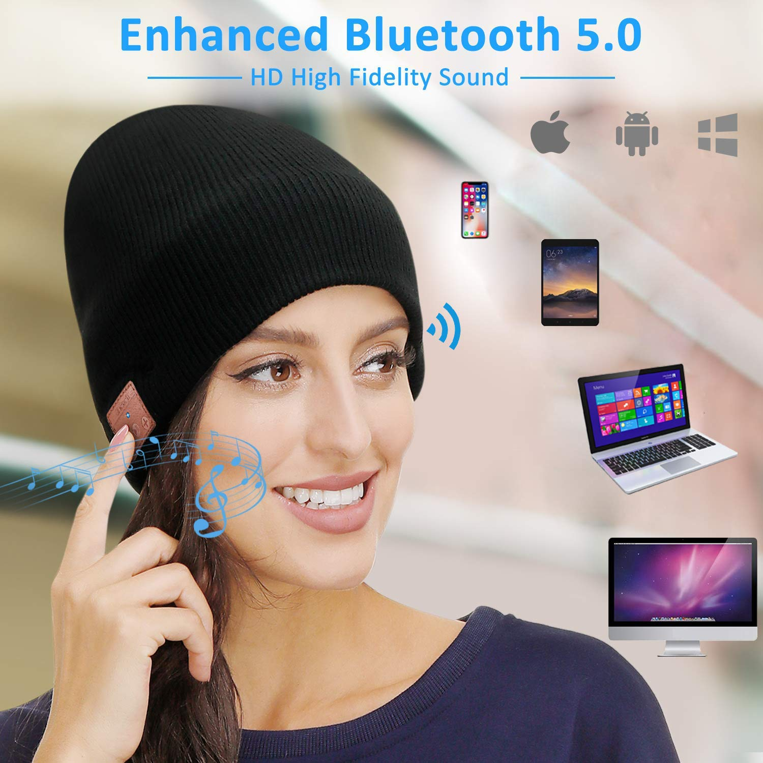 Bluetooth Beanie, Women Mens Gifts,Bluetooth Hat, Bluetooth Music Hat with Bluetooth 5.0, Built-in Mic, Fit for Outdoor Sports,Washable,Fashion Gifts for Men Women,Teenagers,Christmas Thanksgiving Day