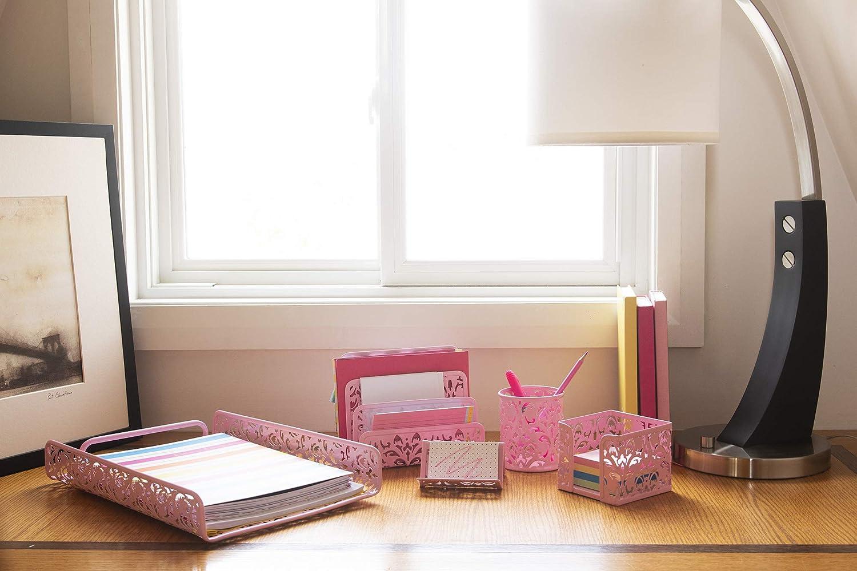 Hudstill Cute Pink Damask Desk Organizer Set for Women and Teens