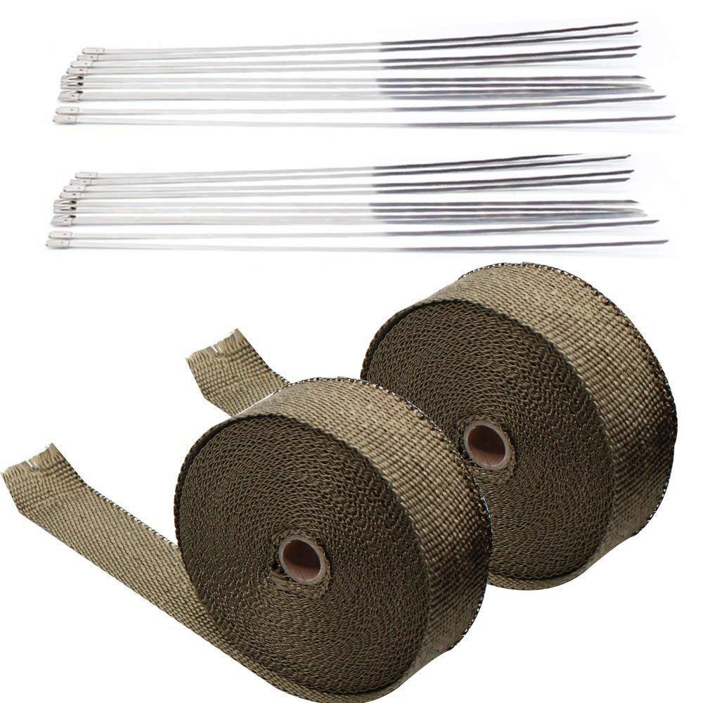 "2/"" 50FT Titanium Fiberglass Exhaust Header Manifold Pipe Heat Wrap Tape+Ties Kit"