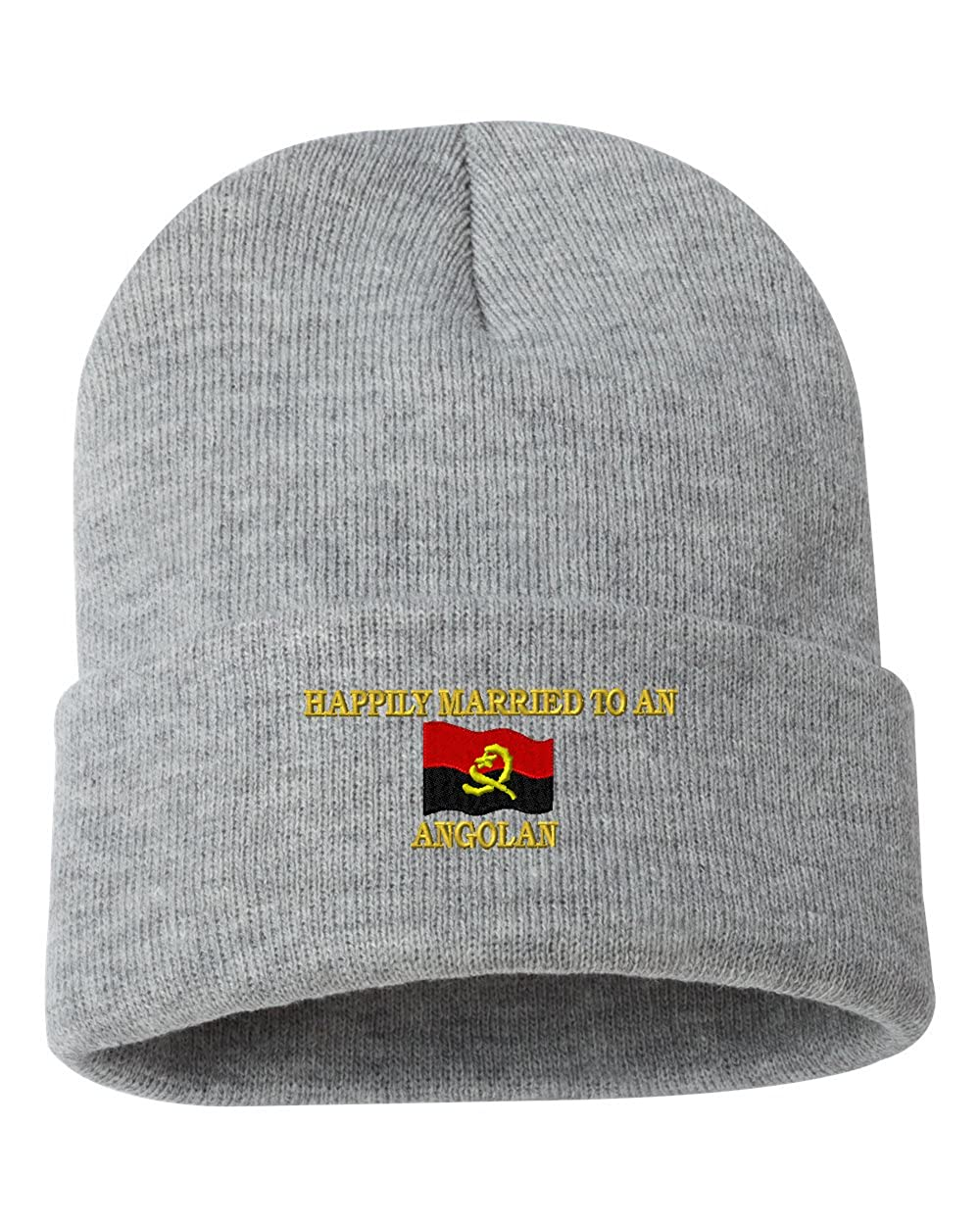 HAPPILY MARRIED TO AN ANGOLAN Custom Personalized Embroidery Embroidered Beanie