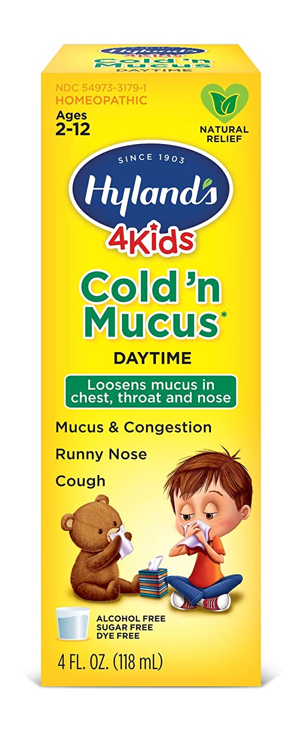 Amazon.com: Cold Medicine for Kids Ages 2+ by Hyland's, Cold 'n Mucus  Relief Liquid, Natural Relief of Mucus & Congestion, Runny Nose, Cough, 4  Ounces: Beauty