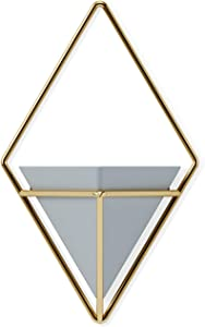Umbra Trigg Hanging Planter Vase & Geometric Wall Decor Container-for Succulent, Air, Mini Cactus, Faux Plants and More, Grey/Brass, Small