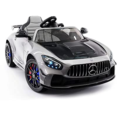 Emr Distributors 2020 Mercedes GT AMG 12V Battery Powered Kids Ride-ON Toy CAR with Parental Remote LED Wheels MP4 Player (Silver): Toys & Games