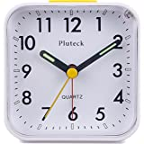 Pluteck Non Ticking Analog Alarm Clock with Nightlight and Snooze/Ascending Sound Alarm/Simple to Set Clocks, Battery Powered, Small, White