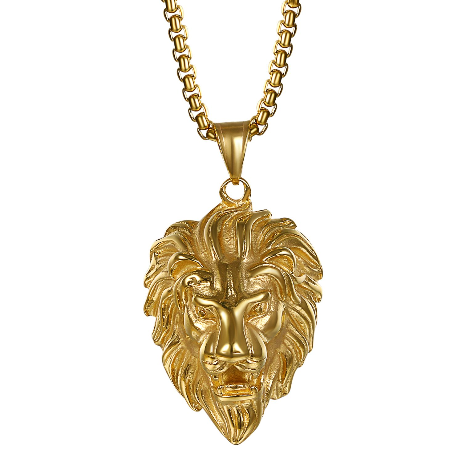 Stainless Steel Lion Head Necklace,Cupimatch Men's Lion Pendant Necklace, 22 Biker Link Chain Gold Tone CU-MI-25