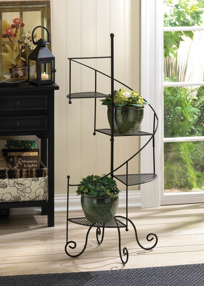 Amazon.com : Zingz And Thingz Spiral Showcase Plant Stand In Black : Garden  U0026 Outdoor