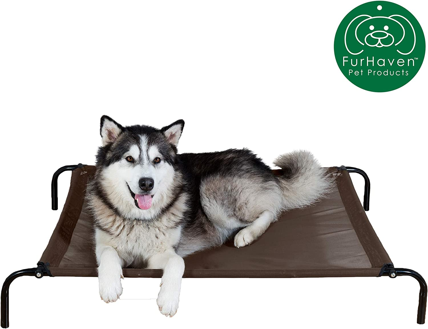 Furhaven Pet Dog Bed | Mold & Mildew Resistant Breathable Cooling Mesh Elevated Pet Cot Bed & Self-Warming Pet Mat Insert for Dogs & Cats - Available in Multiple Colors & Sizes
