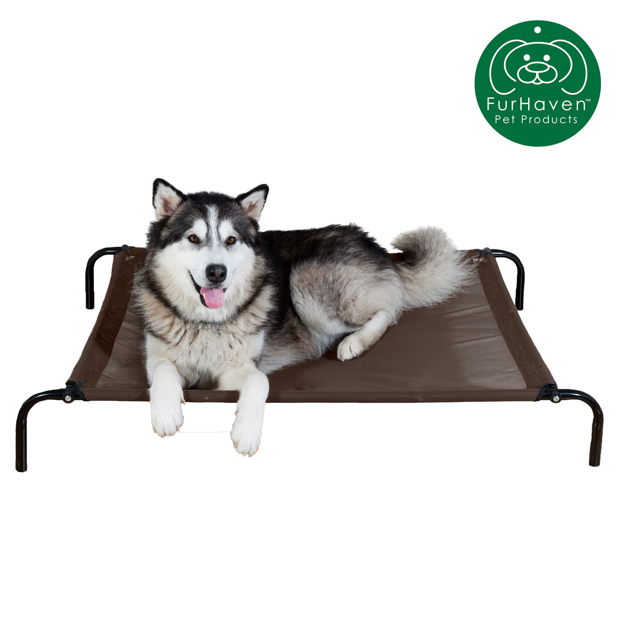 Furhaven Pet Dog Bed | NEW & IMPROVED Mold & Mildew Resistant Reinforced Breathable Cooling Mesh Elevated Pet Cot Bed for Dogs & Cats, Espresso, Large by Furhaven