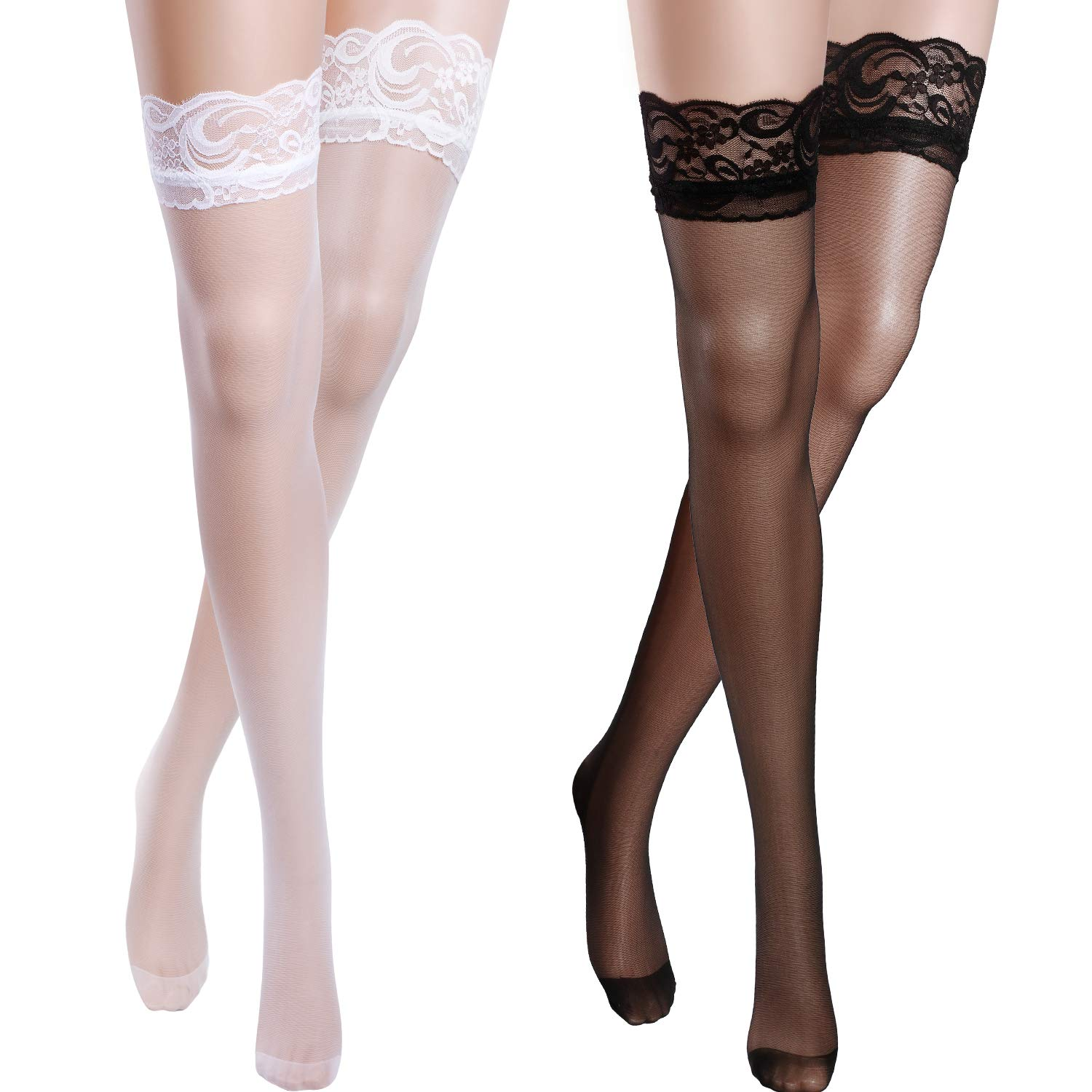SATINIOR 2 Pairs Lace Sheer Thigh High Stockings Opaque Hold Up Stockings One Size for Women, 2 Pairs, Black and White
