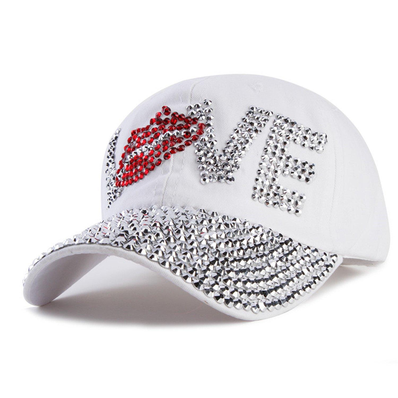 Batsomer Rhinestone Cap Love Letter Snapback Hats for Men and Women White