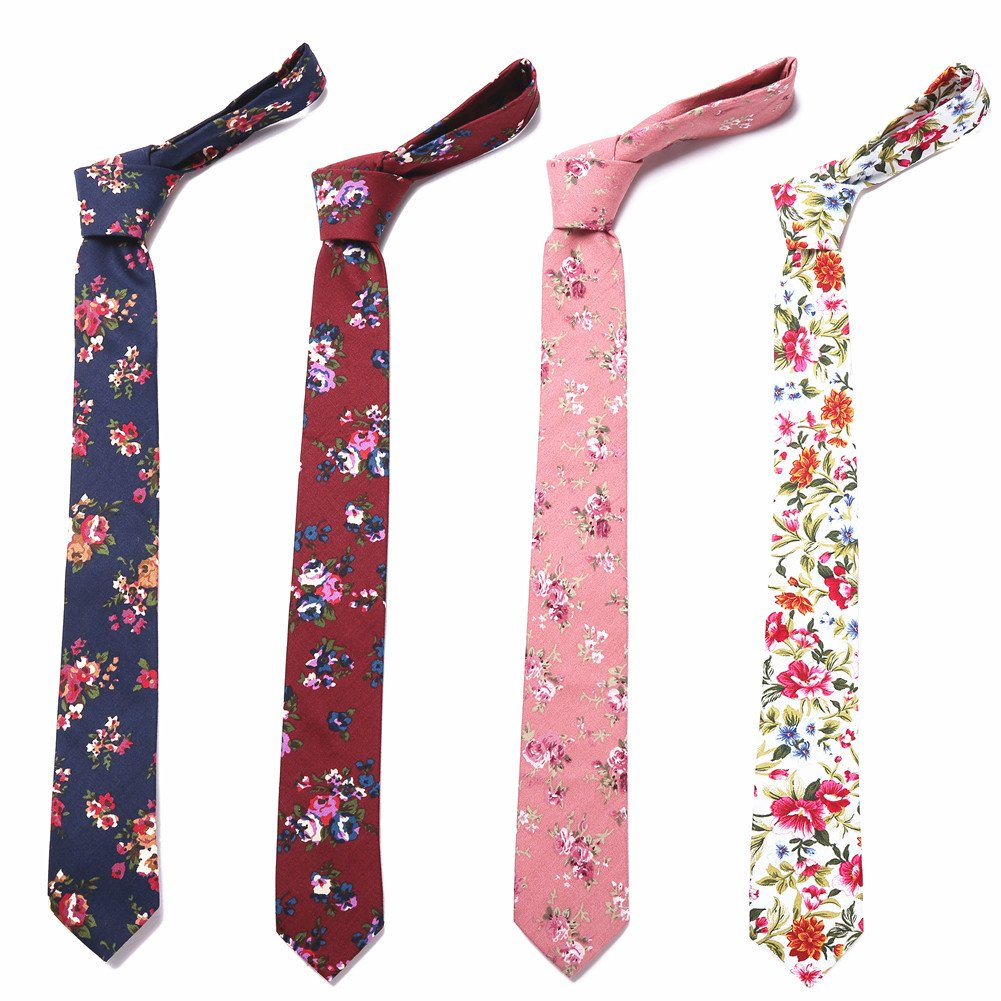 Ausky 4 Packs Cotton Floral Skinny Neckties for Men Boys in Different Flower (Floral B) by AUSKY (Image #1)