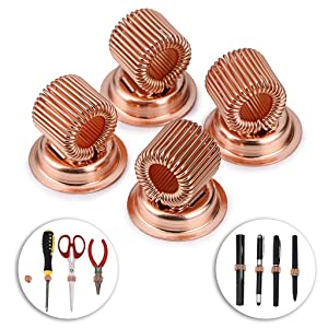 BTSKY Stainless Steel Magnetic Pen Holder Clips- Strong Magnetic Pen Clip Holder Fit Any Size Pens Magnetic Push pins for Refrigerator Whiteboard Erase Board and Bulletion Board Map Rose Gold 4PCS