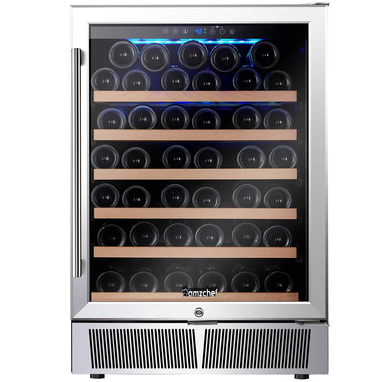 Wine Cooler Built-in or Freestanding, AMZCHEF Compressor Wine Refrigerator 52 Bottle Single Zone with Touch Control by BODEGA