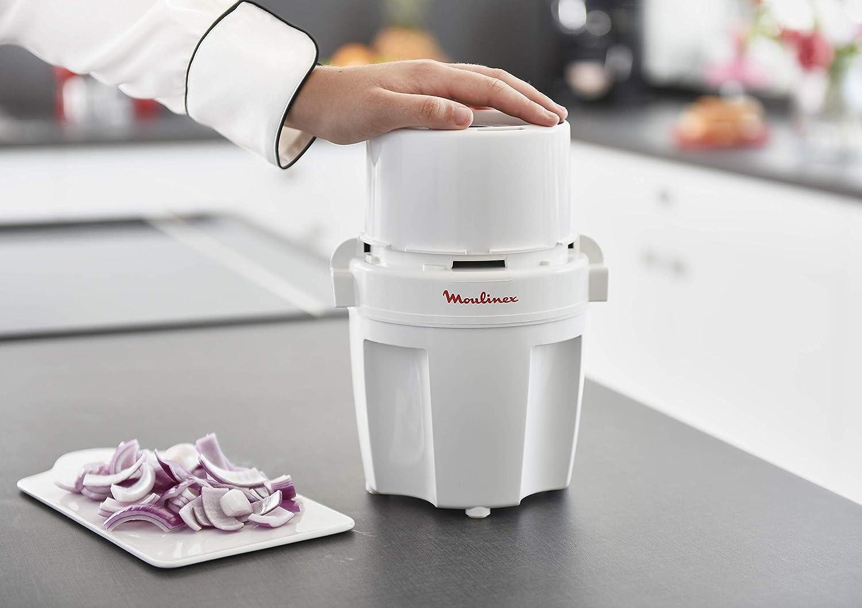 Moulinex A327R1 - Picadora 700 W de fácil sistema con tapa de presión, capacidad 0,6 l, para picar todo tipo de ingredientes con cuchilla y tapa removibles y bol de capacidad de