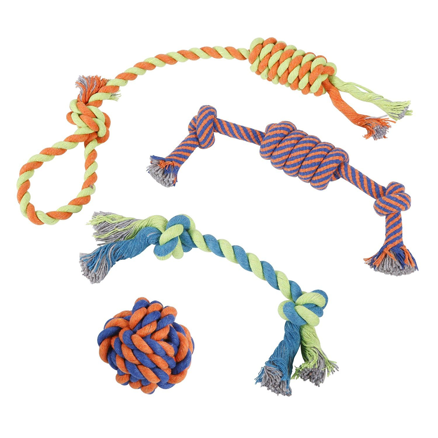 Puppy Chew Toys Dog Rope - Set of 4 for Large, Small Dogs - Durable For Aggressive Chew, Teething - 100% Natural Cotton - Chewer Ball, Dental Pull Rope, Tug of War Toy, Fetching Bone - Best Pet Gift