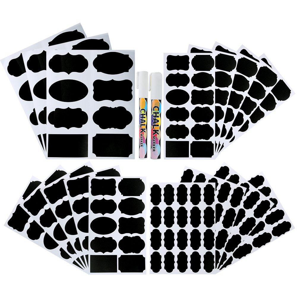Pllieay 214pièces 4tailles Tableau noir étiquettes étanche réutilisable Tableau noir effaçable étiquettes Stickers avec marqueurs à craie 2pièces pour décorer bocaux, Garde-ma