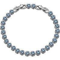 Susan Y Regalo para Mamá, Pulsera Mujer con Azul Cristales de Swarovski Regalos, Viene con Caja de Regalo, Sin Níquel, Envoltura de Regalos