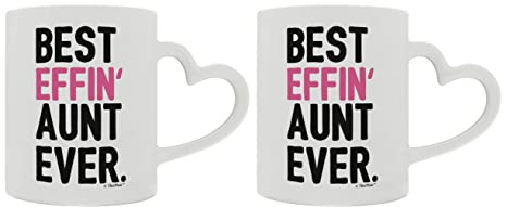 Mothers Day Gifts For Aunt Best Effin Aunt Ever Gift Ideas For Aunt Gifts From Niece 2 Pack Heart Handle Gift Coffee Mugs Tea Cups White