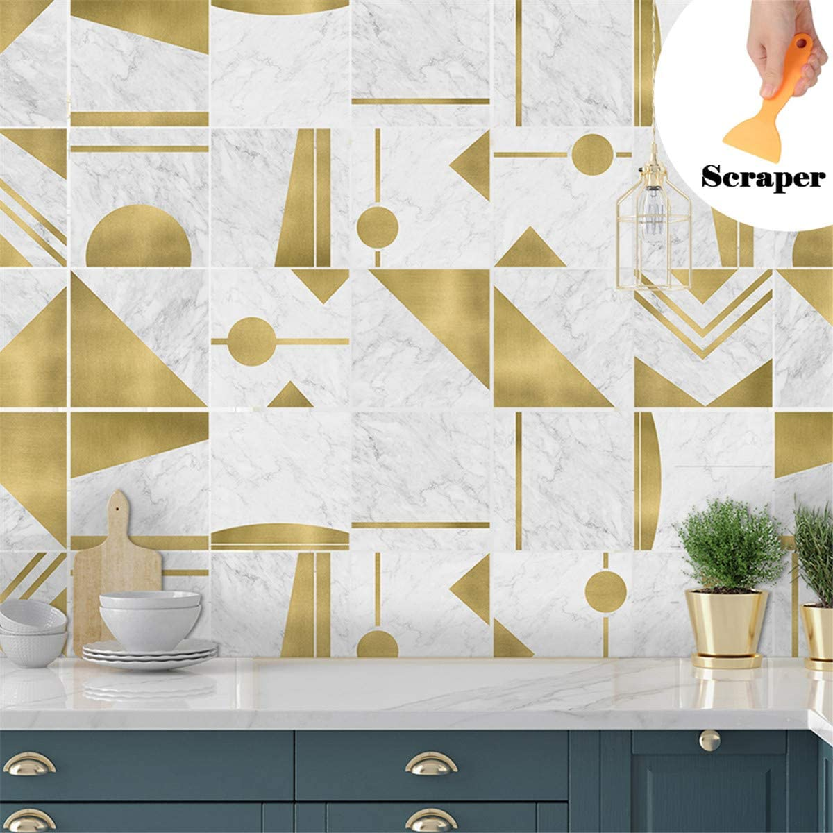 Auto-adh/ésif Imperm/éable 3D Marocain Style Adh/ésive D/écorative /à Carreaux Hiser 10 Pi/èces Stickers Carrelage pour Salle de Bain Cuisine Blanc Gris,10x10cm