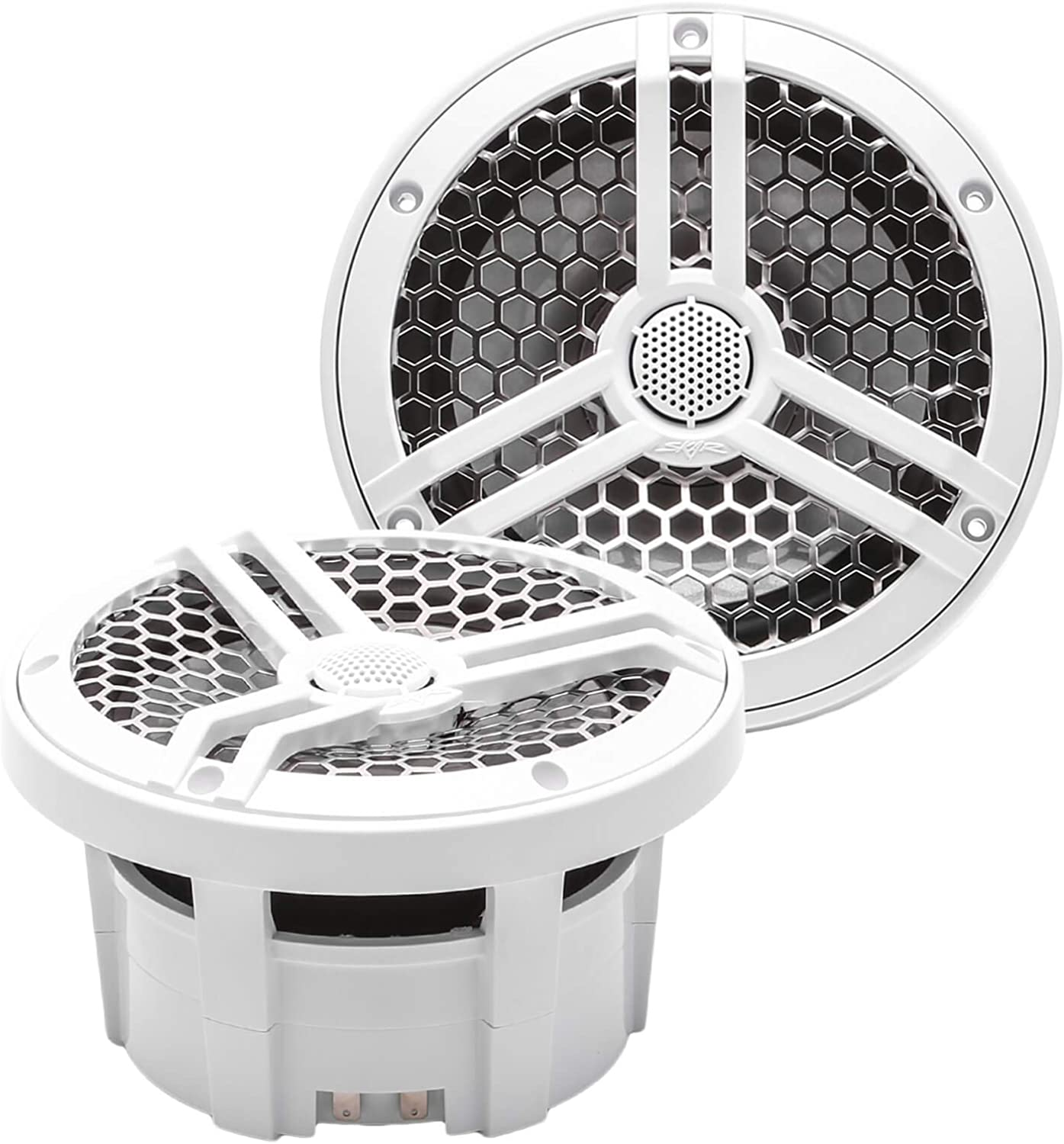"Skar Audio SK65M 6.5"" 2-Way Marine Full Range 320 Watt Coaxial Speakers, Pair (White)"