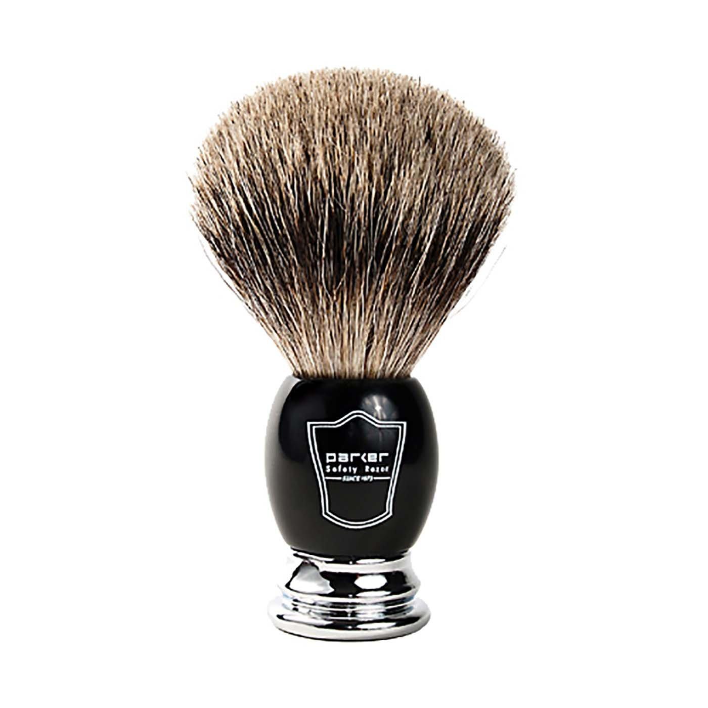 Parker Safety Razor Handmade Deluxe ''Long Loft'' 100% Pure Badger Shaving Brush with Black & Chrome Handle - Brush Stand Included